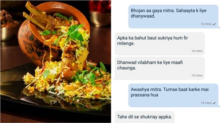 zomato, zomato viral, zomato funny conversation, zomato customer, zomato shuddh desi, zomato shuddh desi Hindi chat, customer chat with Zomato shuddh desi, Indian express, Indian express news
