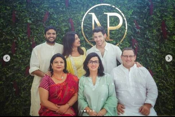 priyanka chopra and nick jonas at the roka ceremony