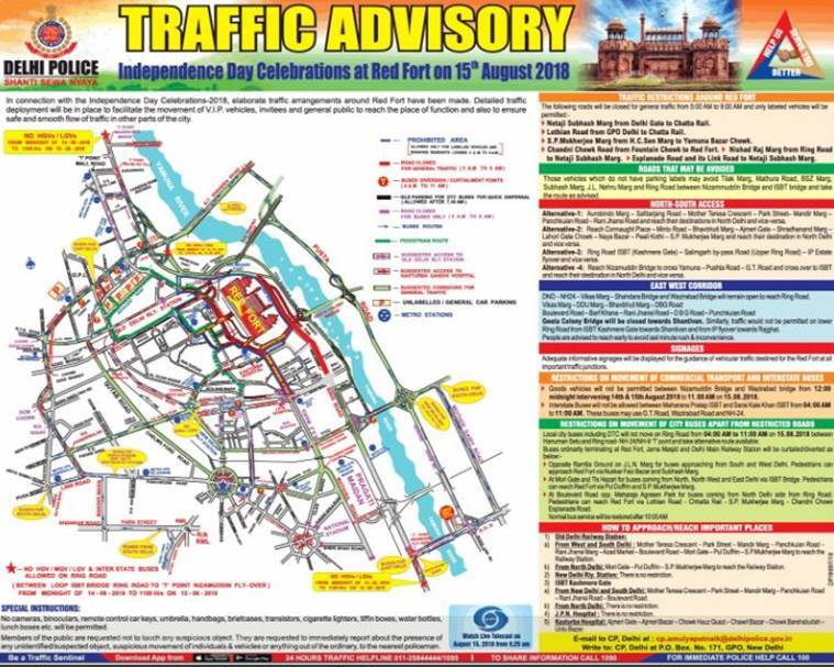 Independence Day: Here is the traffic advisory by Delhi Police for August 15