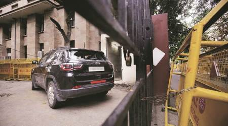 Phoolwati was crossing the road when the Jeep Compass SUV hit her and her saree got stuck in the vehicle's tyre on the left side. (Express photo/Praveen Khanna)