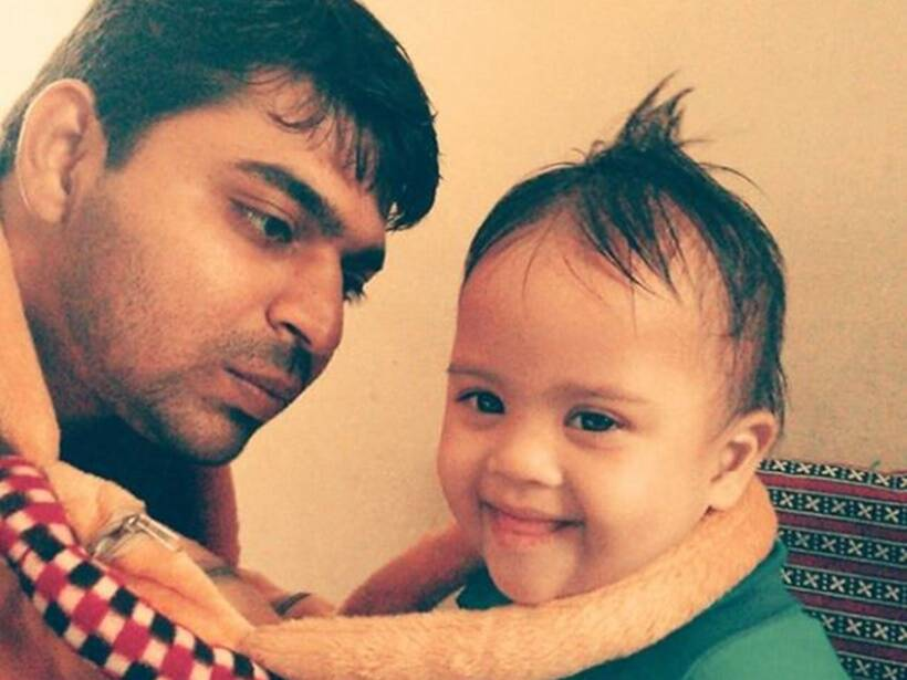 Aditya Tiwari with son Avnish Tiwari