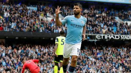 Sergio Aguero scores hat-trick as free-scoring Manchester City routHuddersfield