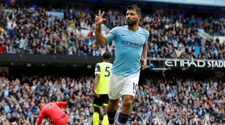 Manchester City's Sergio Aguero celebrates scoring their fifth goal to complete his hat-trick