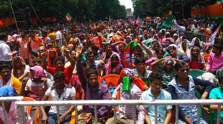 The crowd at the BJP rally in Kolkata. (Express photo/Partha Paul)