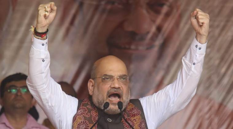 BJP president Amit Shah addresses the rally in Kolkata on Saturday. (Express photo/Partha Paul)