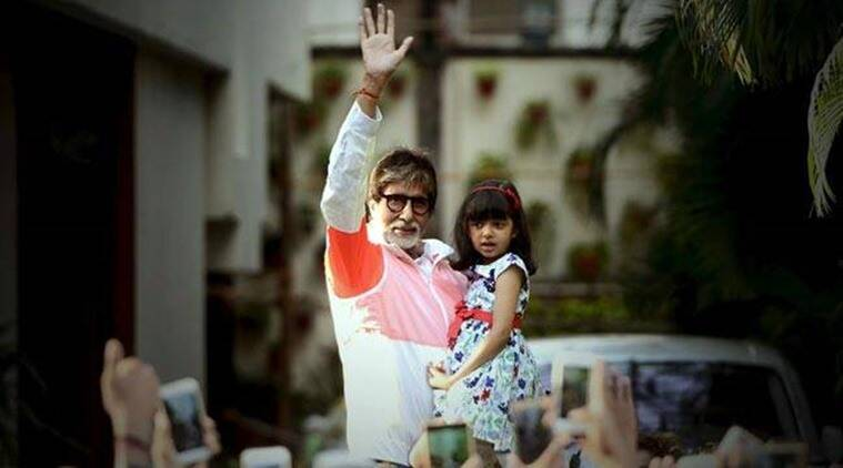 Amitabh Bachchan with aaradhya bachchan