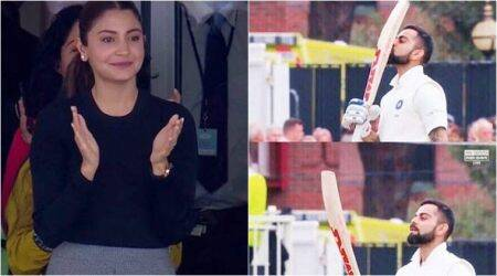 Anushka Sharma blows kisses to Virat Kohli as he scores his 23rd test century