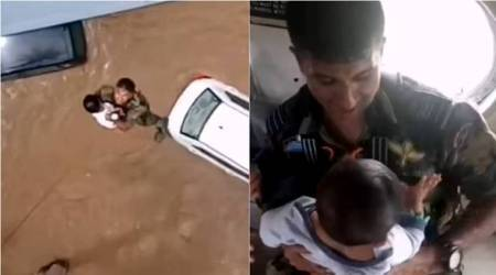 Kerala Floods: Garud Special Force officer airlifts baby from flooded rooftop in Kerala