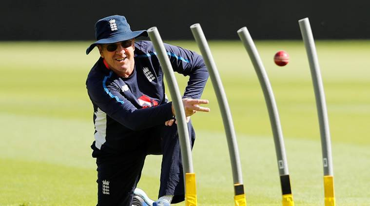 England head coach Trevor Bayliss during nets