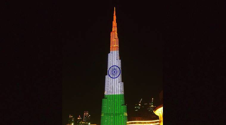 independence day, indian independence day, monuments lit up tricolours, burj khalifa tricolours, empire state building tricolors, india news, indian express