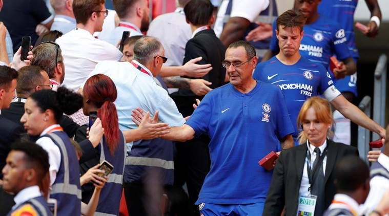 Maurizio Sarri after Chelsea collected their runner-up medals