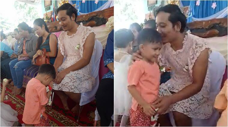 single dad, single dad post, dad wore dress, thailand mothers day, man wore dress to sons mothers day, father wore dress for mothers day, viral news, good news, parenting news, indian express