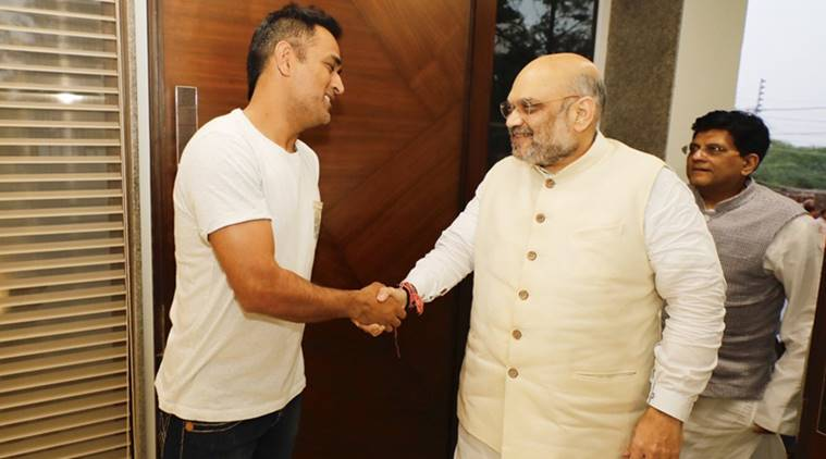 Image result for amit shah with dhoni