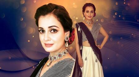 Dia Mirza looks dreamy in this black and white lehenga