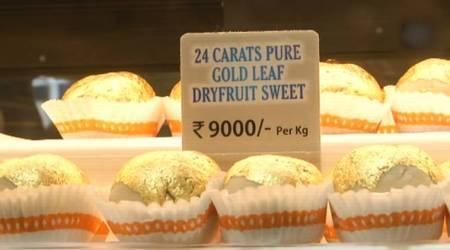 Gold sweets not jewellery sold for Rs 9000 per kg at sweet shop in Surat