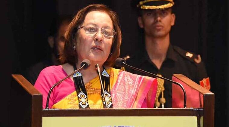 Manipur Governor Dr Najma Heptulla addresses the crowd at the event on Monday. (Express photo)