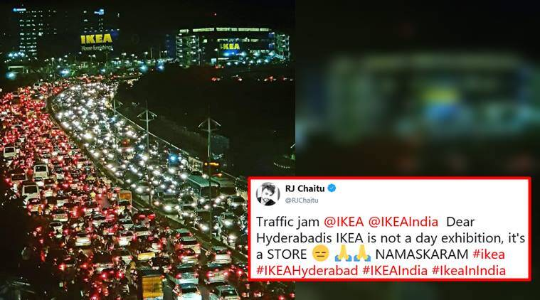 ikea, ikea hyderabad, ikea india, hyderbadab jam, ikea hyderabad jam, hyderabad traffic jam photo, india news, viral news, indian express