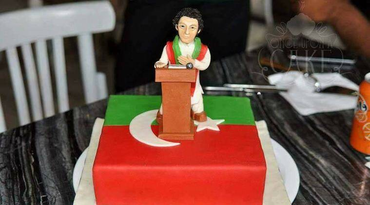 imran khan, imran khan pti, pakistan pm oath ceremony, pak pm cake, imran khan victory, viral news, trending news, odd news, indian express