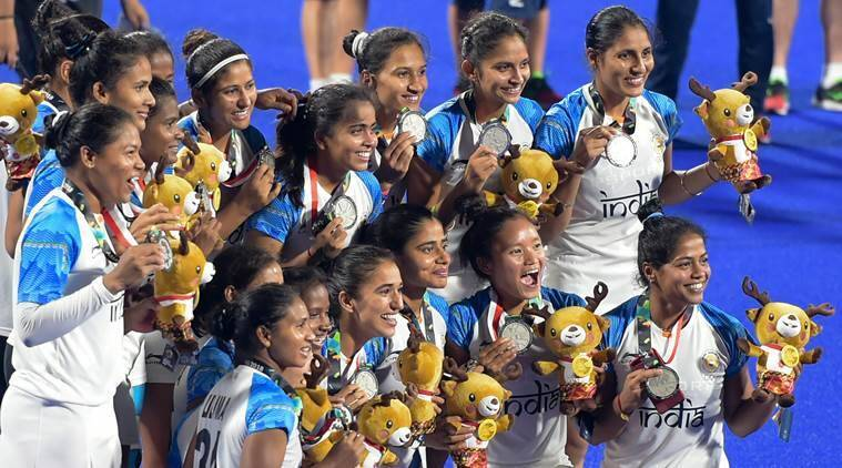 Indian team after the hockey final at the Asian Games in Jakarta, Indonesia
