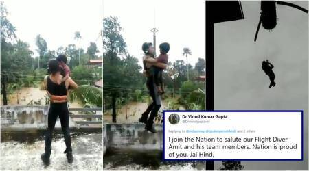 Kerala floods: This video of Indian Navy man saving child in Aluva is winning hearts online