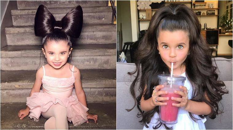 kid with beautiful hair viral, israeli girl hair viral, mia aflalo, girl going viral for hair, child red carpet looks, viral photo, viral news, indian express