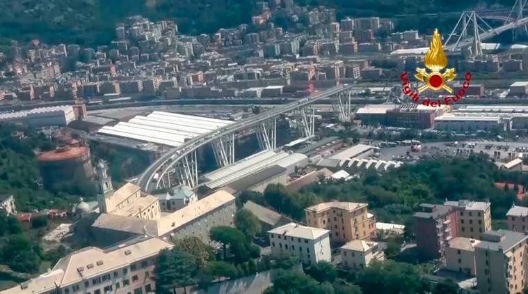 Sniffer dogs and cranes help rescuers at scene of Italian bridge collapse