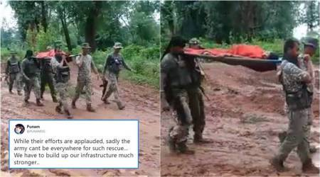 ITBP personnel carry pregnant Chhattisgarh woman on stretcher to hospital, earn praise online