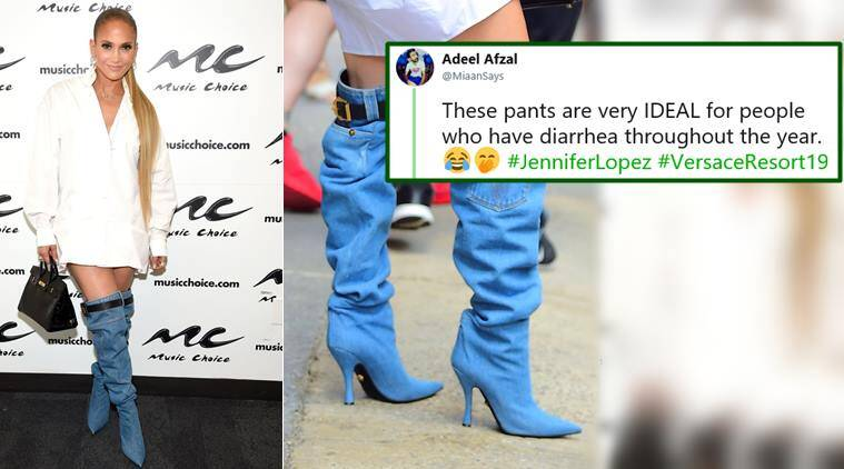 Jennifer Lopez S Versace Denim Boots Have Turned Into A Hilarious Meme Trending News The Indian Express