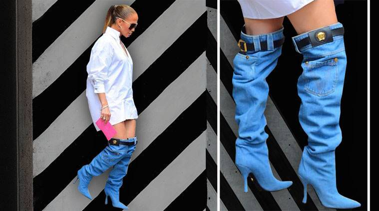 Jennifer Lopez, Jennifer Lopez latest photos, Jennifer Lopez denim boots, Jennifer Lopez Versace, Jennifer Lopez street style, Jennifer Lopez weird boots, indian express, indian express news