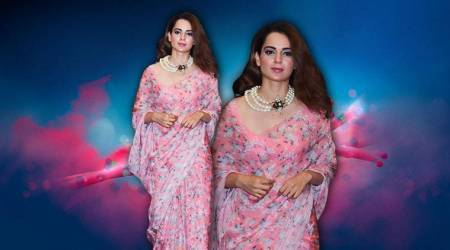 Kangana Ranaut in this chiffon sari reminds us of Bollywood beauties in the '80s