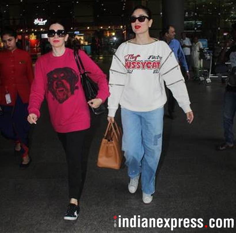 Kareena Kapoor, Sister Karisma Kapoor, best friend Amrita Arora, Dubai, Karisma Kapoor airport look, Kareena Kapoor airport look, bollywood airport look, indian express