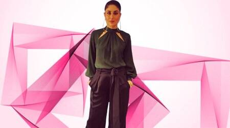 Kareena Kapoor in this satin olive top keeps things classy and chic