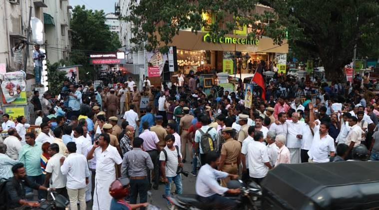 The crowd outside Kauvery Hospital in Chennai on Monday. (Express photo)