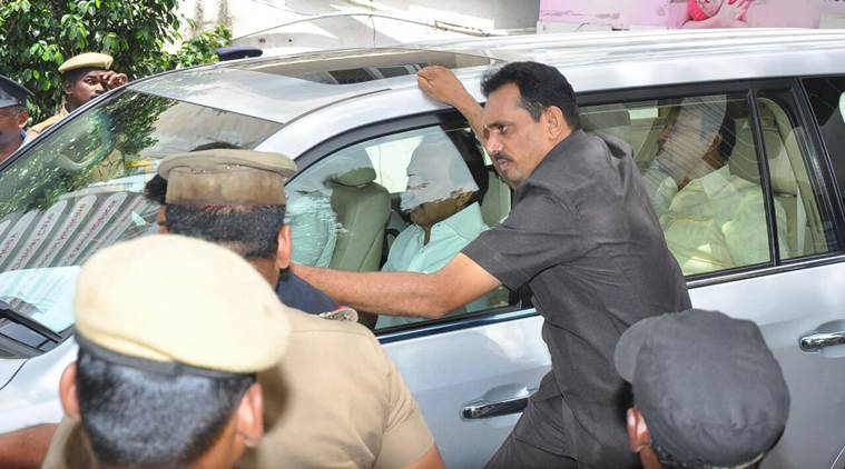 DMK Working President M K Stalin arrives at Kauvery Hospital in Chennai on Monday. (Express photo)