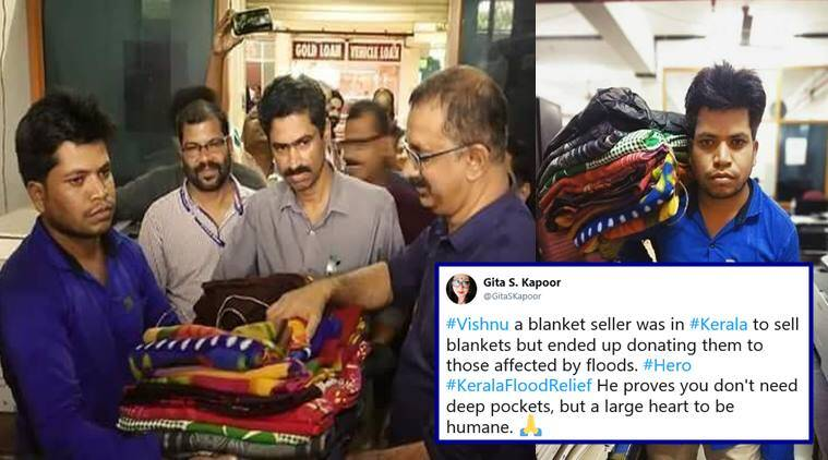 kerala, kerala floods, kerala rain, kerala flood relief, kerala flood heros, kerala relief donations, man donates blankets kerala, good news, indian express, viral news