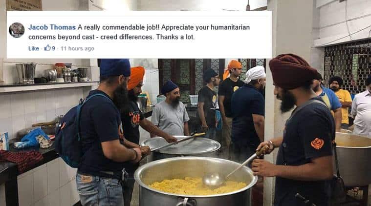 kerala flood, kerala rains, kerala flood relief, kerala rescue operation, khalsa aid, kerala khalsa aid, sikh group kerala releif, sikh volunteers kerala, india news, indian express, good news