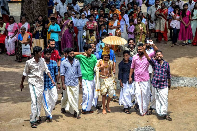 In Vechoor village, Kottayam district, celebrations were held at St Anthony's relief camp on Friday. (Express photo/Vignesh Krishnamoorthy)