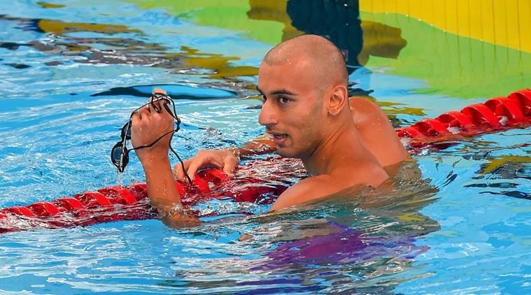 India's Virdhawal Vikram Khade reacts after win Men's 50m freestyle heat event at the Asian Games 2018, in Jakarta