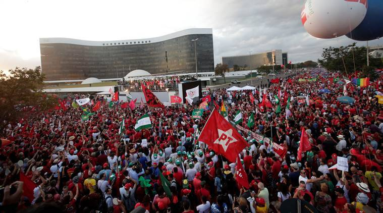 Former president Lula da Silva registers for Brazil elections from jail as thousands rally