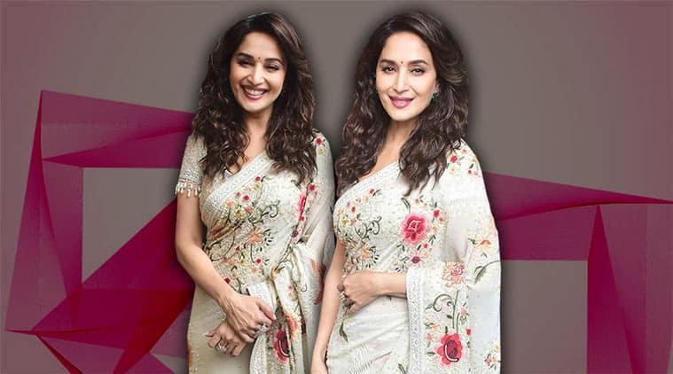 Madhuri Dixit, madhuri dixit sari looks, madhuri dixit ethnic, madhuri dixit fashion style file