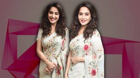 Madhuri Dixit looks nothing less than divine in this floral Tarun Tahiliani sari