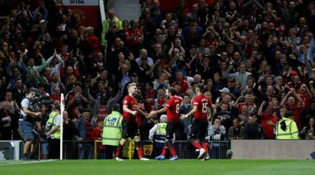 Manchester United's Luke Shaw celebrates scoring their second goal