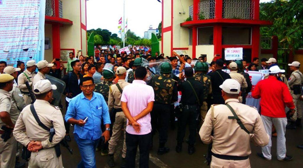 manipur university impasse, manipur university protest, manipur university vice chancellor, ap pandey, manipur students protest