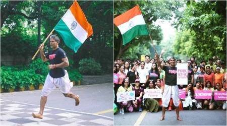 Milind Soman, Milind Soman 72km run, Milind Soman 72 independence day run, Milind Soman runs with a flag