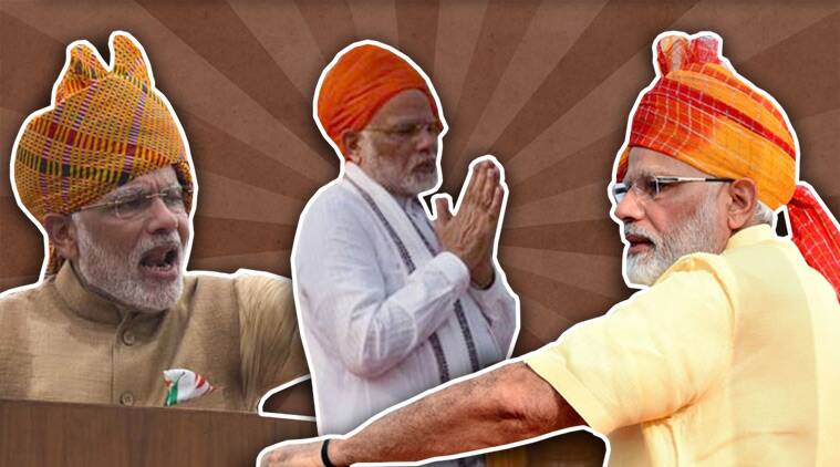 independence day, independence day narendra modi, narendra modi turbans, modi speech independence day, indian express, indian express news
