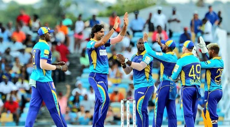 Mohammad Irfan (second from left) in the Caribbean Premier League