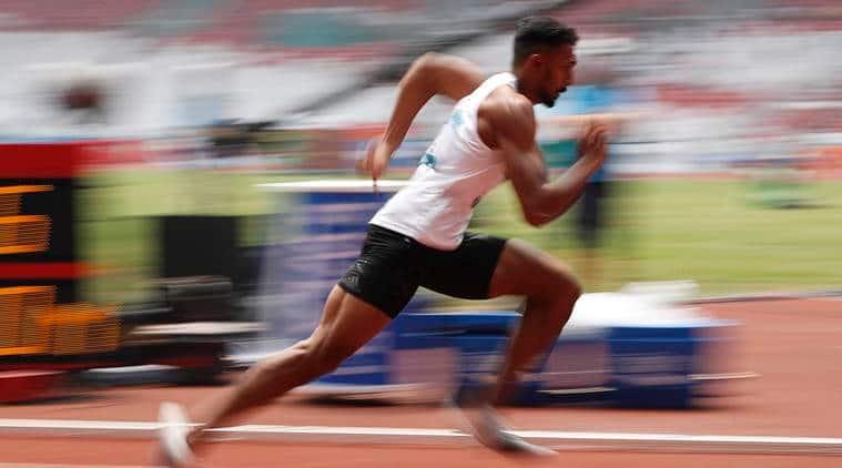 Muhammed Anas Yahiya of India competes at Asian Games