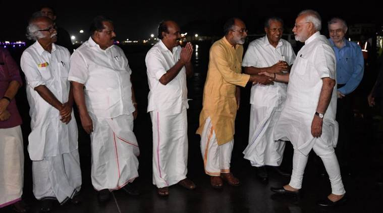 Kerala Floods Live Updates: Prime Minister Narendra Modi was received by Chief Minister Pinarayi Vijayan, Governor P Sathasivam and Union Tourism Minister KJ Alphons in Kerala on Friday. (Twitter/@PIB_India)