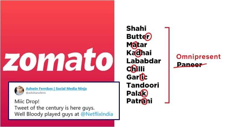 netflix india, radhika apte, zomato, netflix india zomato chat, netflix india zomato trolling, radhika omnipresent, radhika apte netflix memes, funny news, viral news, indian express