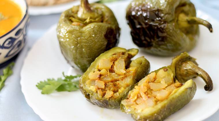 Potato Stuffed Capsicum, Potato Stuffed recipes, capsicum recipes, potato recipes, food, recipes, indian express, indian express news